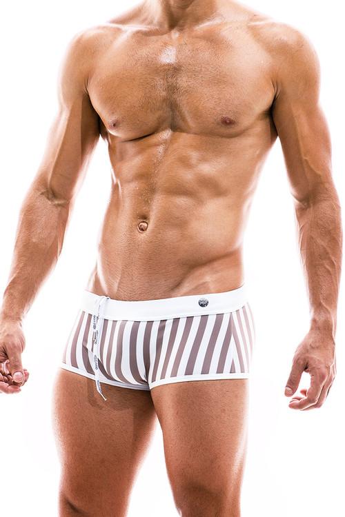 Modus Vivendi Sun Tanning Swim Trunk Boxer BS2021-WH White - Mens Trunk Swimsuits - Side View - Topdrawers Swimwear for Men