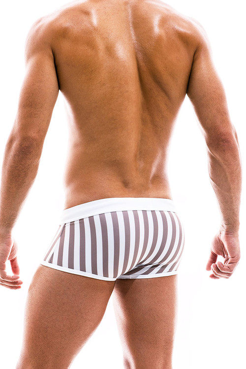 Modus Vivendi Sun Tanning Swim Trunk Boxer BS2021-WH White - Mens Trunk Swimsuits - Rear View - Topdrawers Swimwear for Men