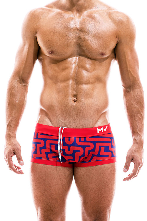 Modus Vivendi Labyrinth Swim Trunk Boxer CS2021-RD Red - Mens Trunk Swimsuits - Front View - Topdrawers Swimwear for Men