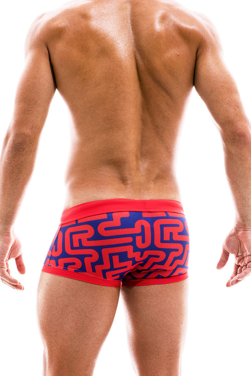Modus Vivendi Labyrinth Swim Trunk Boxer CS2021-RD Red - Mens Trunk Swimsuits - Rear View - Topdrawers Swimwear for Men