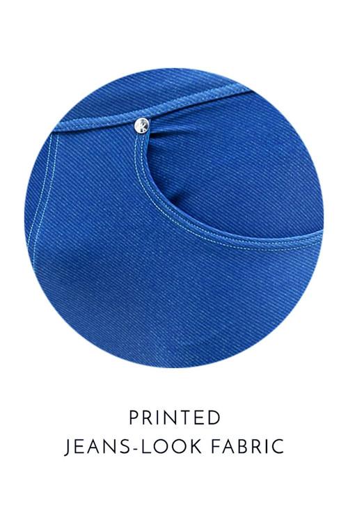 Modus Vivendi Jeans Swim Brief FS2012-BU Blue  - Mens Bikini Swimsuits - Fabric View - Topdrawers Swimwear for Men