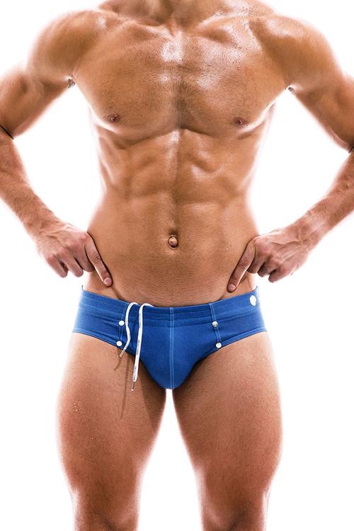 Modus Vivendi Jeans Swim Brief FS2012-BU Blue  - Mens Bikini Swimsuits - Front View - Topdrawers Swimwear for Men