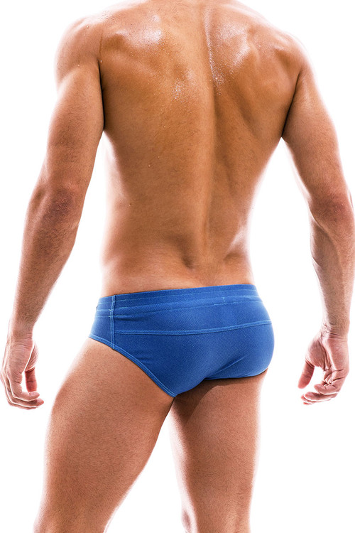 Modus Vivendi Jeans Swim Brief FS2012-BU Blue  - Mens Bikini Swimsuits - Rear View - Topdrawers Swimwear for Men