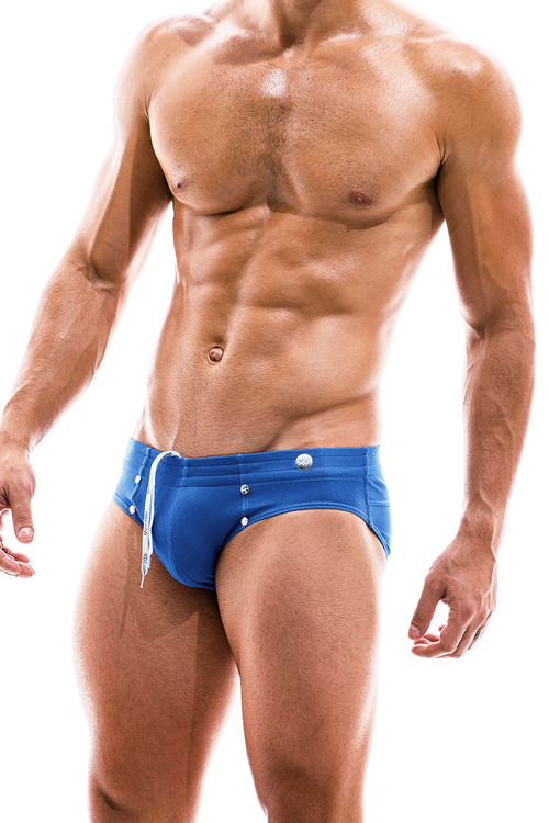 Modus Vivendi Jeans Swim Brief FS2012-BU Blue  - Mens Bikini Swimsuits - Side View - Topdrawers Swimwear for Men