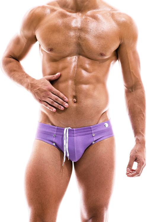Modus Vivendi Jeans Swim Brief FS2012-FUS Fuchsia - Mens Bikini Swimsuits - Front View - Topdrawers Swimwear for Men