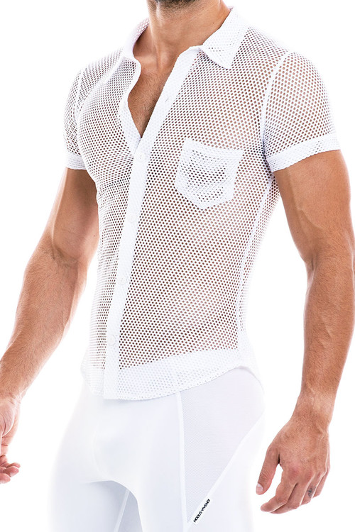 Modus Vivendi Camouflage Shirt 02042-WH White - Mens Shirts - Side View - Topdrawers Clothing for Men