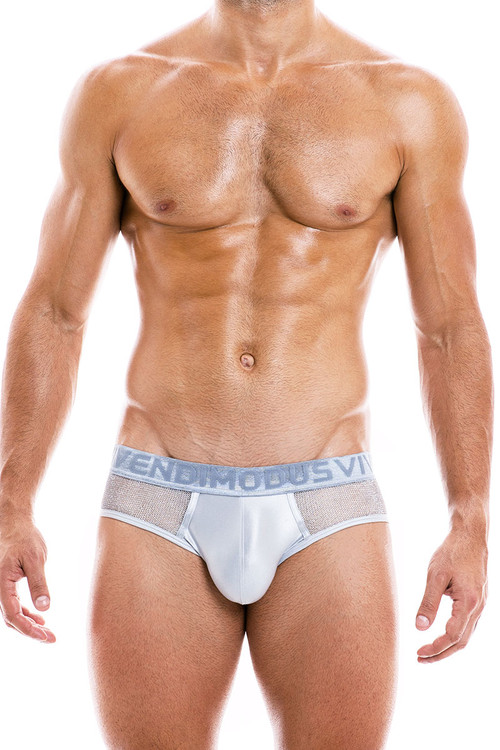Modus Vivendi Armor Brief 01014-SV Silver - Mens Briefs - Front View - Topdrawers Underwear for Men