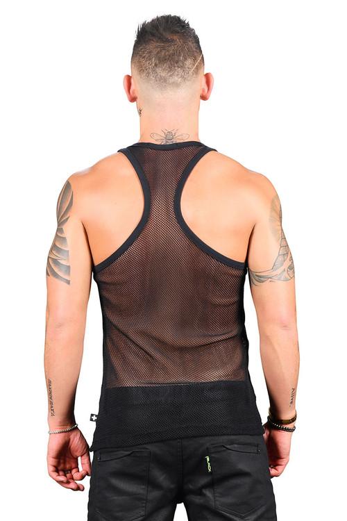 Andrew Christian Club Mesh Racer Back Tank 2770-BL Black - Mens Tank Tops - Rear View - Topdrawers Clothing for Men