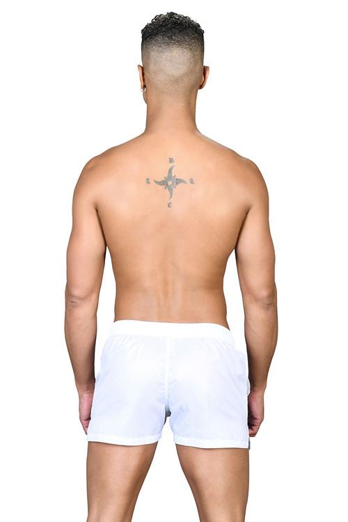 Andrew Christian Pride Active Swim Shorts w/ Rainbow Charm 7751-WH White - Mens Boardshort Swim Shorts - Rear View - Topdrawers Swimwear for Men