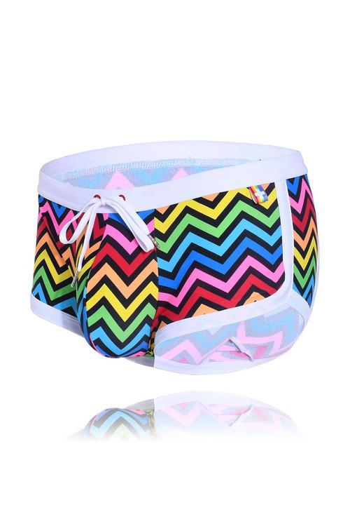 Andrew Christian Disco Pride Swim Trunk 7800 - Mens Swim Trunks - Garment View - Topdrawers Swimwear for Men