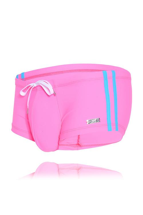 Andrew Christian Ultra Swim Trunk w/ Logo Charm 7790-NEPK Neon Pink - Mens Swim Trunks - Garment View - Topdrawers Swimwear for Men