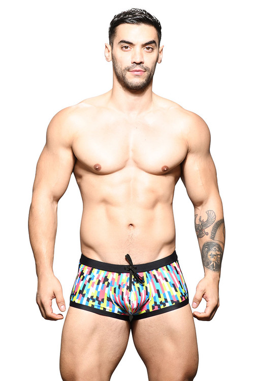 Andrew Christian Arrive Swim Trunk 7782 - Mens Swim Trunks - Front View - Topdrawers Swimwear for Men