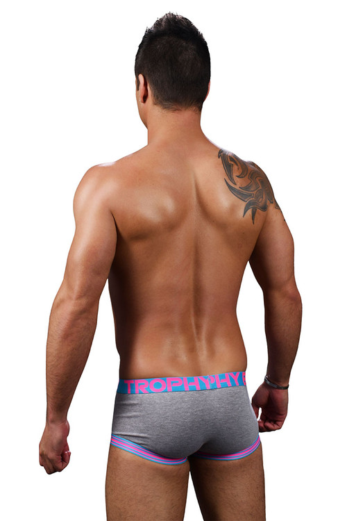 Andrew Christian Trophy Boy Score Boxer 91250-HEA Heather Grey - Mens Boxer Briefs - Rear View - Topdrawers Underwear for Men