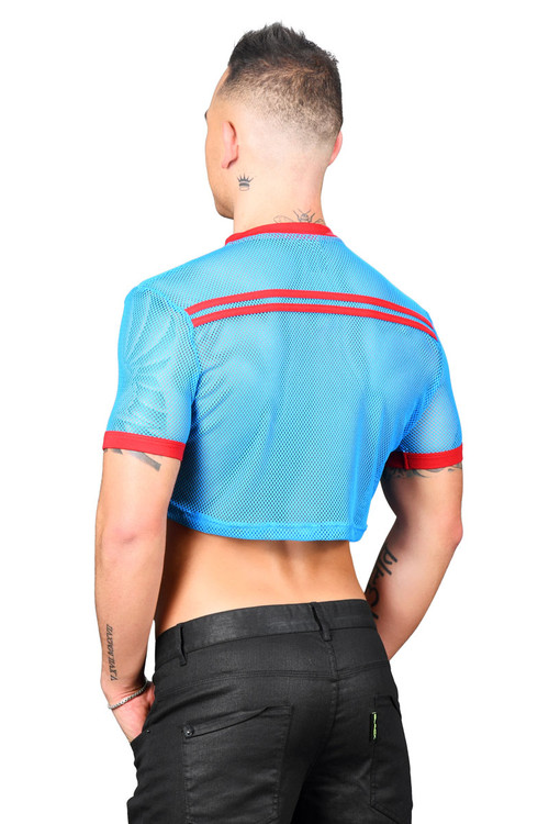 Andrew Christian Club Mesh Cropped Tee 10292-EBU Electric Blue - Mens T-Shirts - Rear View - Topdrawers Clothing for Men