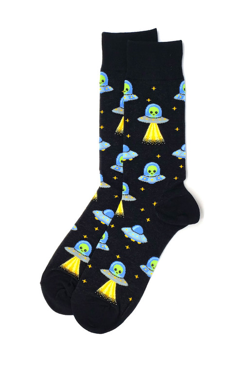 Hot Sox UFOs Crew Socks HM100812 - Mens Socks - Front View - Topdrawers Underwear for Men