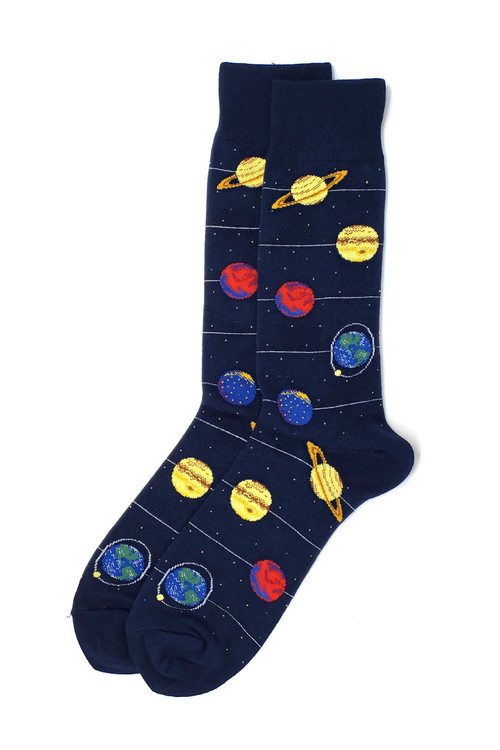 Hot Sox Planets Crew Socks HSM10053 - Mens Socks - Front View - Topdrawers Underwear for Men