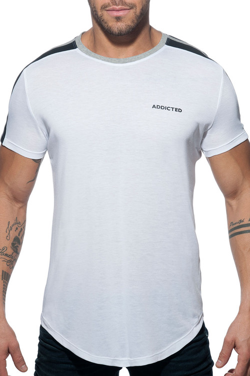 Addicted Raglan Addicted T-Shirt AD778-01 White  - Mens T-Shirts - Front View - Topdrawers Clothing for Men
