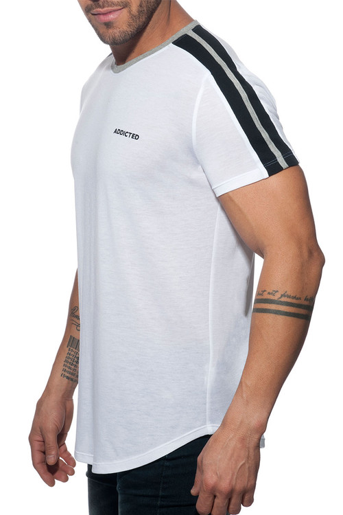 Addicted Raglan Addicted T-Shirt AD778-01 White  - Mens T-Shirts - Side View - Topdrawers Clothing for Men