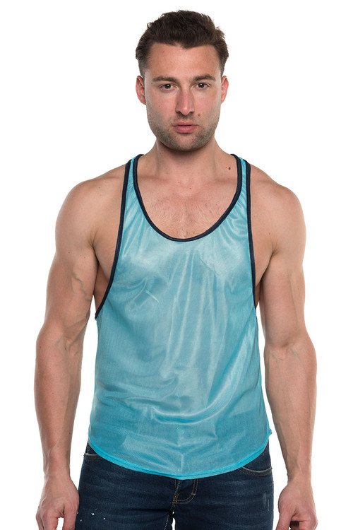 Go Softwear AJ Elite Sport Track Tank Top 8895-TQNV Turquoise/Navy Blue - Mens Athletic Tank Tops - Front View - Topdrawers Clothing for Men