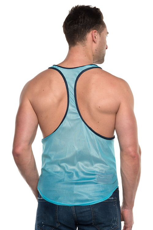 Go Softwear AJ Elite Sport Track Tank Top 8895-TQNV Turquoise/Navy Blue - Mens Athletic Tank Tops - Rear View - Topdrawers Clothing for Men