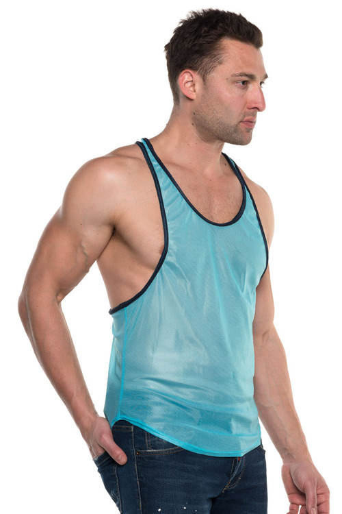 Go Softwear AJ Elite Sport Track Tank Top 8895-TQNV Turquoise/Navy Blue - Mens Athletic Tank Tops - Side View - Topdrawers Clothing for Men