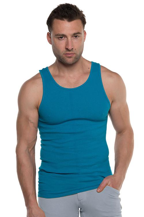 Go Softwear Havana Rib Tank Top 4715-CBBU Caribbean Blue - Mens Tank Tops - Front View - Topdrawers Clothing for Men
