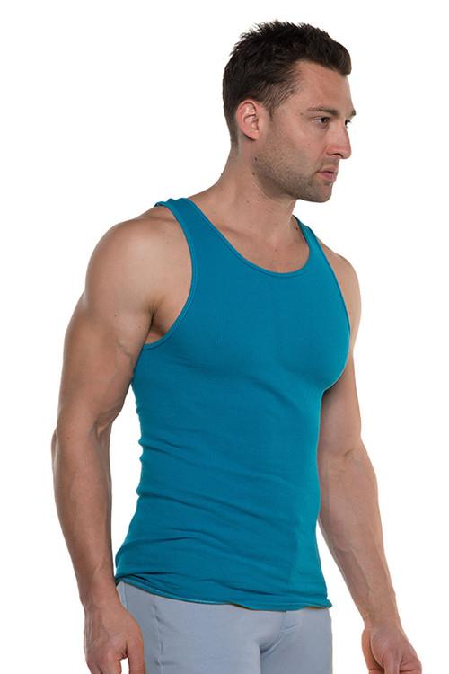 Go Softwear Havana Rib Tank Top 4715-CBBU Caribbean Blue - Mens Tank Tops - Side View - Topdrawers Clothing for Men