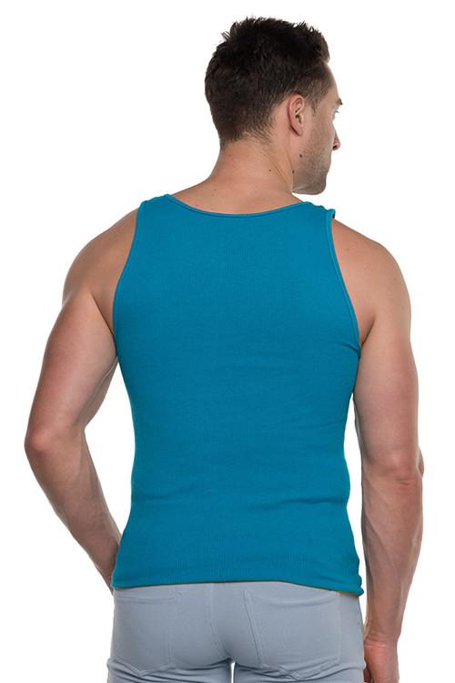 Go Softwear Havana Rib Tank Top 4715-CBBU Caribbean Blue - Mens Tank Tops - Rear View - Topdrawers Clothing for Men