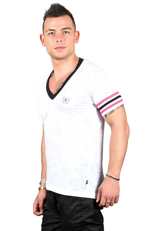 Andrew Christian Burnout Deep V-Neck Laurel Tee 10295 - Mens T-Shirts - Side View - Topdrawers Clothing for Men