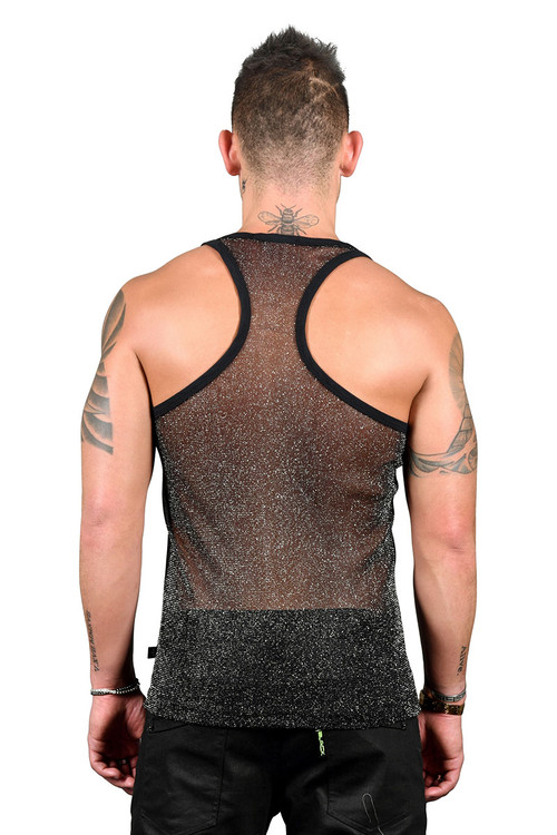 Andrew Christian Sheer Sparkle Tank 2176 - Mens Tank Tops - Rear View - Topdrawers Clothing for Men