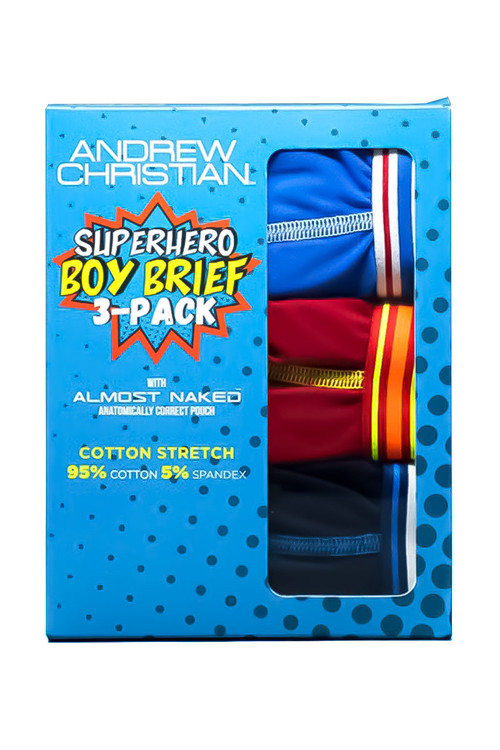 Andrew Christian 3-Pack Superhero Boy Brief w/ Almost Naked 91576 - Mens Briefs - Front View - Topdrawers Underwear for Men
