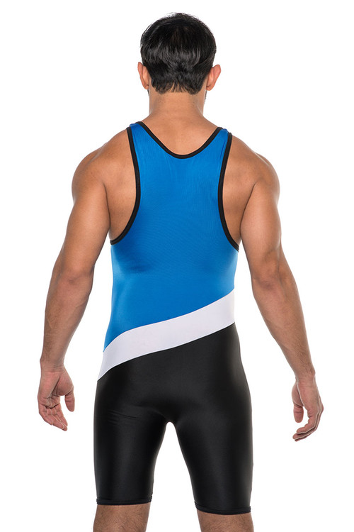 Go Softwear AJ Sports Tri-Color Singlet 8538-ROY Royal Blue Combo - Mens Wrestling Singlets - Rear View - Topdrawers Underwear for Men