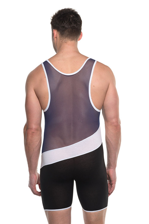 Go Softwear AJ Elite Sport Tri-Color Singlet 8898-NV Navy Blue Combo - Mens Wrestling Singlets - Rear View - Topdrawers Underwear for Men