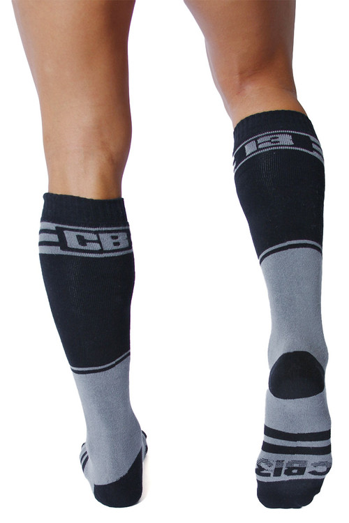 CellBlock 13 Torque 2.0 Knee High Sock A067-GR Grey - Mens Long Socks - Rear View - Topdrawers Footwear for Men