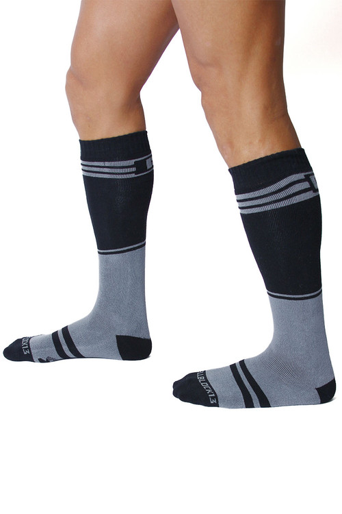 CellBlock 13 Torque 2.0 Knee High Sock A067-GR Grey - Mens Long Socks - Side View - Topdrawers Footwear for Men