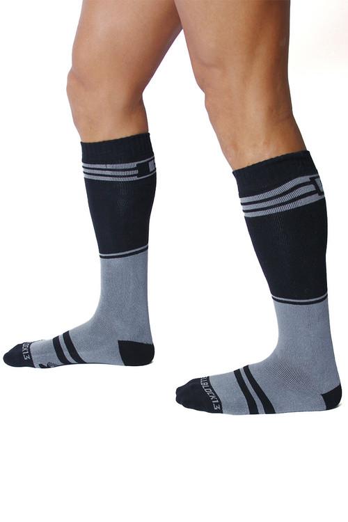 CellBlock 13 Torque 2.0 Knee High Sock A067-GR Grey - Mens Long Socks - Side View - Topdrawers Footwear for Men