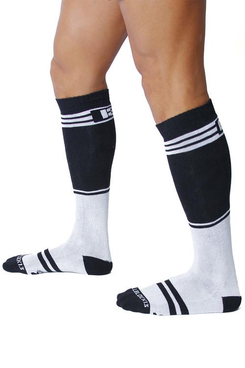 CellBlock 13 Torque 2.0 Knee High Sock A067-WH White - Mens Long Socks - Side View - Topdrawers Footwear for Men