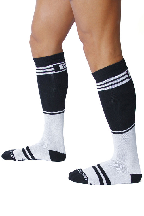 CellBlock 13 Torque 2.0 Knee High Sock A067-WH White - Mens Long Socks - Side View - Topdrawers Footwear for Men