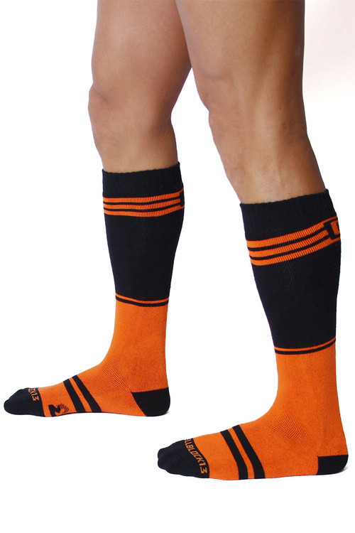 CellBlock 13 Torque 2.0 Knee High Sock A067-OR Orange - Mens Long Socks - Side View - Topdrawers Footwear for Men