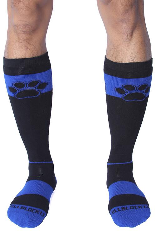 CellBlock 13 Kennel Club Alpha Knee High Sock A078-BU Blue - Mens Long Socks - Front View - Topdrawers Footwear for Men