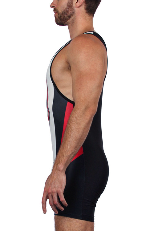 CellBlock 13 Kennel Club Singlet CBS155-RD Red - Mens Wrestling Singlets - Side View - Topdrawers Fetishwear for Men