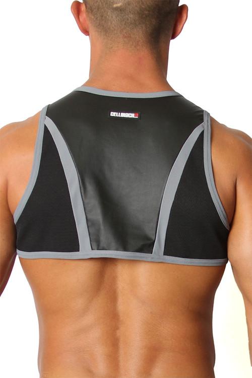 CellBlock 13 Moto X Harness CBS167-GR Grey - Mens Fetish Harnesses - Rear View - Topdrawers Fetishwear for Men