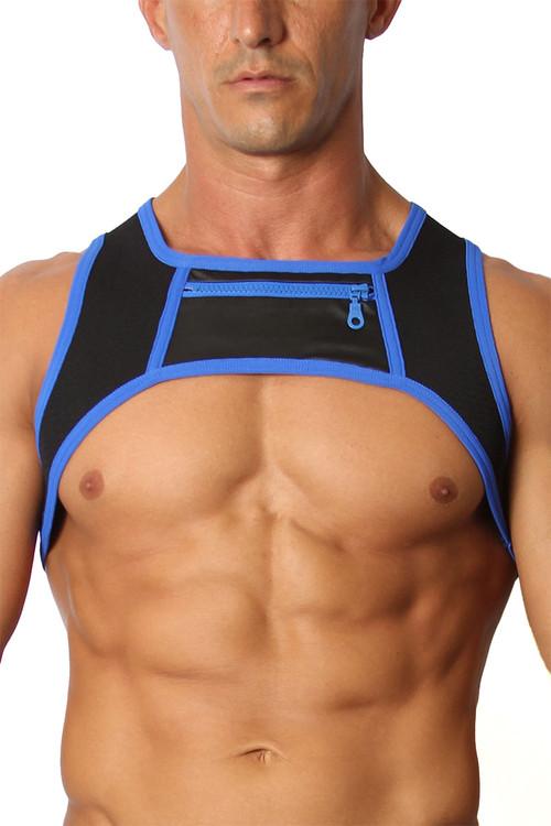 CellBlock 13 Moto X Harness CBS167-BU Blue - Mens Fetish Harnesses - Front View - Topdrawers Fetishwear for Men