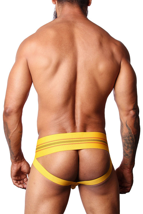 CellBlock 13 Tight End Jockstrap CBU133-YL Yellow - Mens Jockstraps - Side View - Topdrawers Underwear for Men