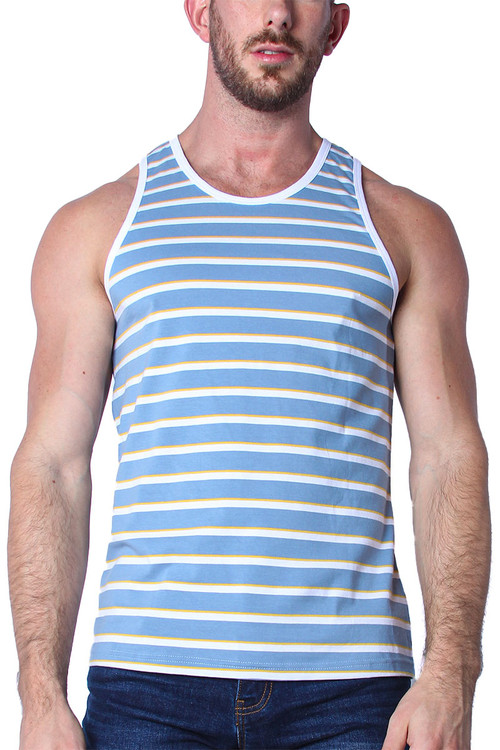 Timoteo California Cool Tank Top TMS139-LBWY Light Blue White Yellow - Mens Tank Top T-Shirts - Front View - Topdrawers Clothing for Men