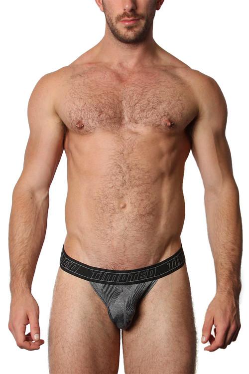 Timoteo Aero Sport Y Thong TMU261-GR Grey - Mens Thongs - Front View - Topdrawers Underwear for Men