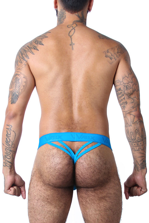 CellBlock 13 Vaux VX1 Double Y Thong VXS105-TQ Turquoise - Mens Mesh Thongs - Rear  View - Topdrawers Underwear for Men
