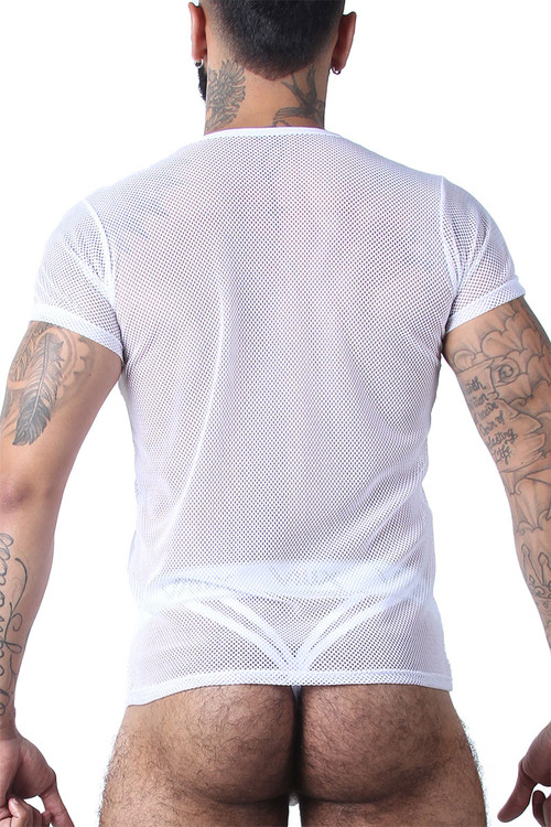 CellBlock 13 Vaux VX1 Mesh Tee VXS100-WH White - Mens Mesh T-Shirts - Rear View - Topdrawers Clothing for Men