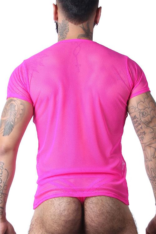 CellBlock 13 Vaux VX1 Mesh Tee VXS100-PK Pink - Mens Mesh T-Shirts - Rear View - Topdrawers Clothing for Men