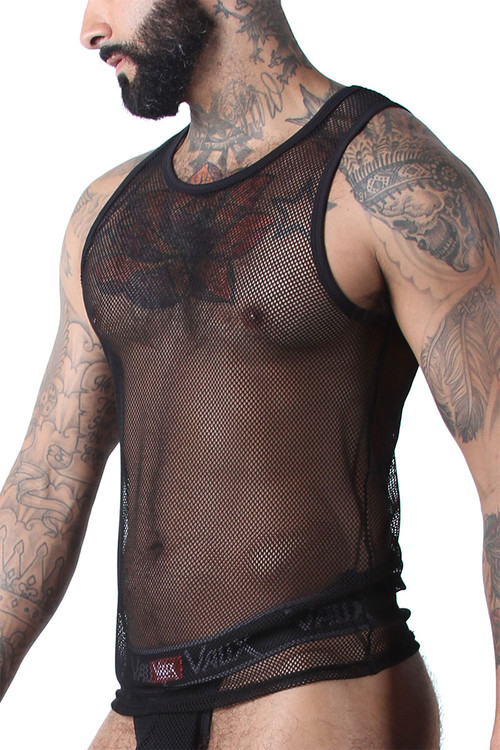 CellBlock 13 Vaux VX1 Mesh Tank Top VXS101-BL Black - Mens Mesh Tank Tops - Side View - Topdrawers Clothing for Men